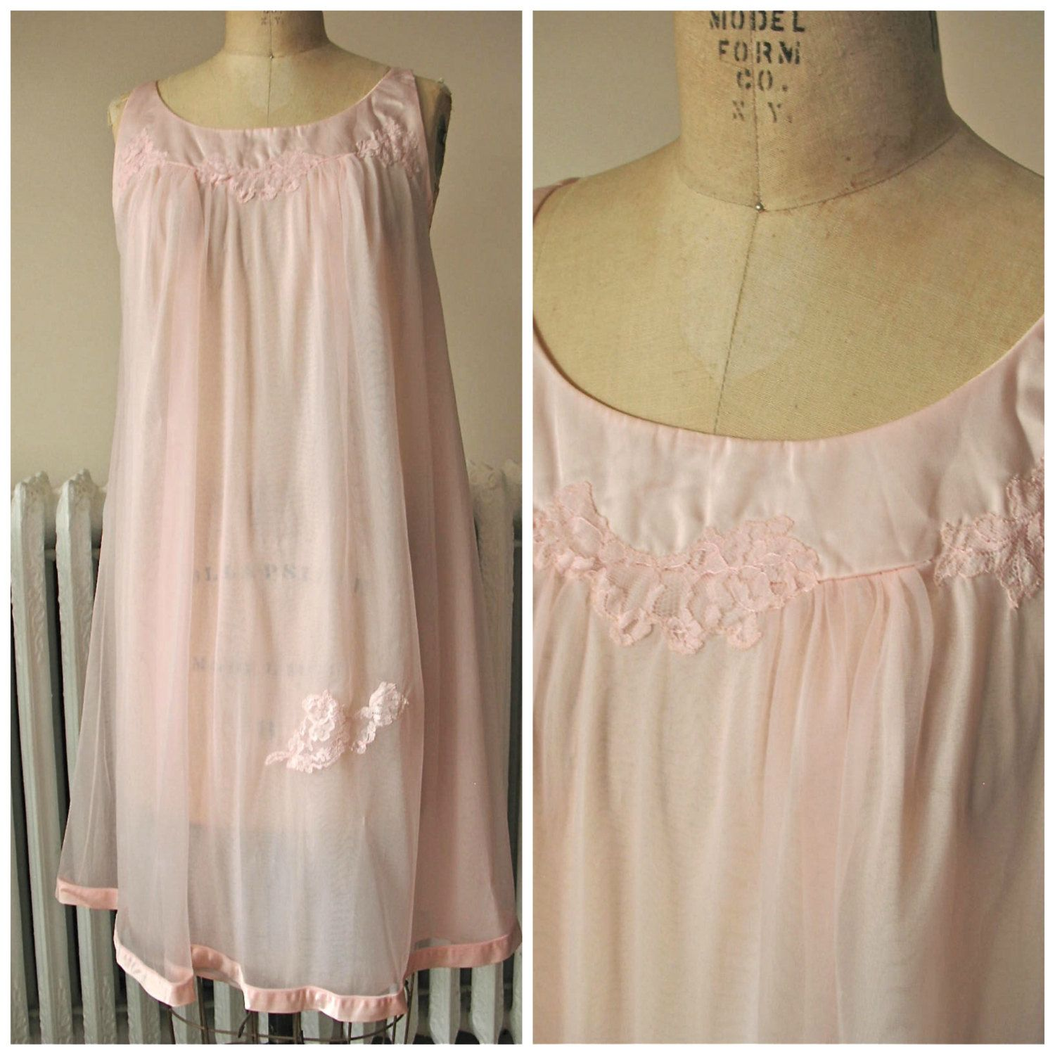 Rose | Vintage 1960s Blush Pink Nylon Chiffon Nightgown - Trapeze Shape with Lace Floral Appliquees and Satin Trim by BobbinsNBombshells on Etsy