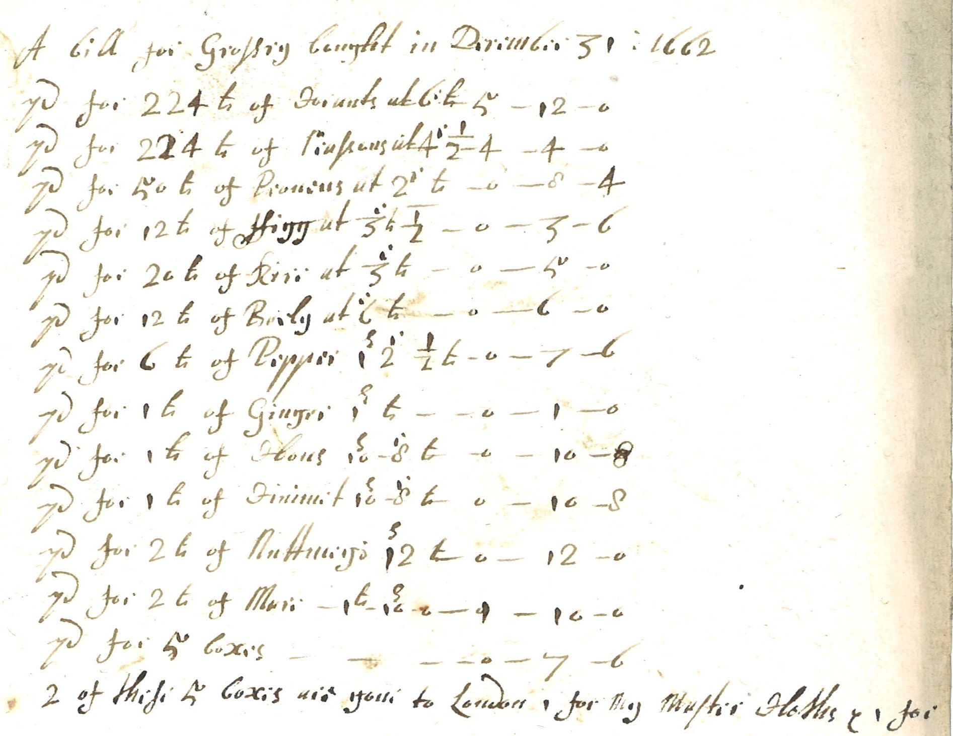 Wonder how similar your Christmas shopping list looks to this one for Christmas at Lydiard House in 1662? It includes currants, raisins, prunes, figs, rice, barley, spices and various kinds of wines and spirits.