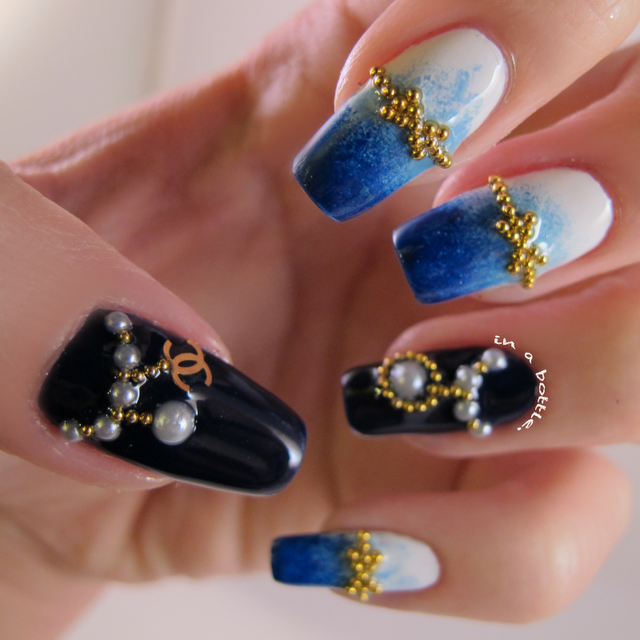 Blue Gradient Chanel Nails. Get these nail art stuff at www ...