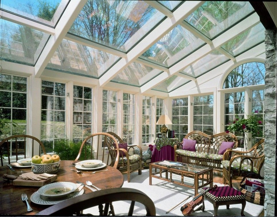 Large Sunroom Family Room Design With Glass Ceiling And Glass Wall