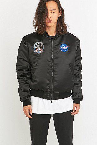 Urban Renewal Vintage Customised Black NASA Patch Bomber Jacket