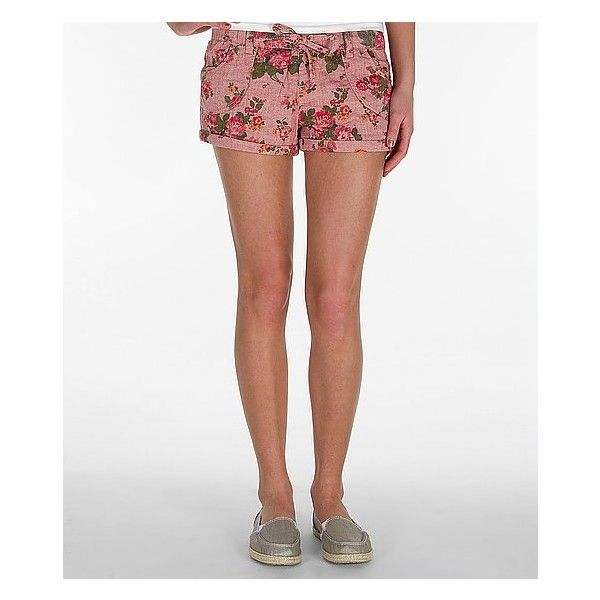 Almost Famous Floral Short (185 MXN) ❤ liked on Polyvore featuring shorts, pink, floral pattern shorts, pink floral shorts, patterned shorts, floral printed shorts and cuffed shorts