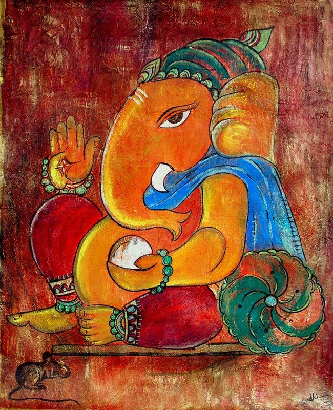 lord ganesha painting,acrylic on canvas | Ganesha painting ...