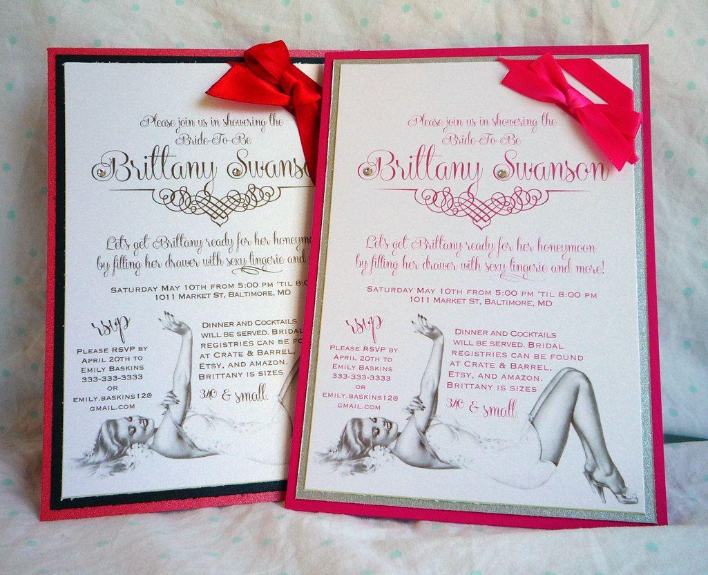 Pinup Bridal Shower Custom Invitations 4 25 Via Etsy Invitations Custom Invitations Handmade Invitations
