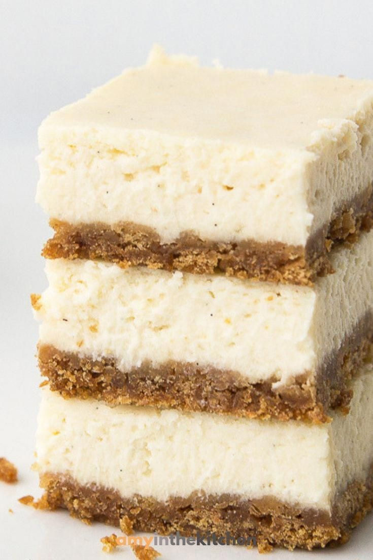 Learn how to make simple cheesecake bars with this easy recipe. Can be made in a 9x13 pan. #cheesecakebars #dessert #recipe #cheesecakedessertseasy