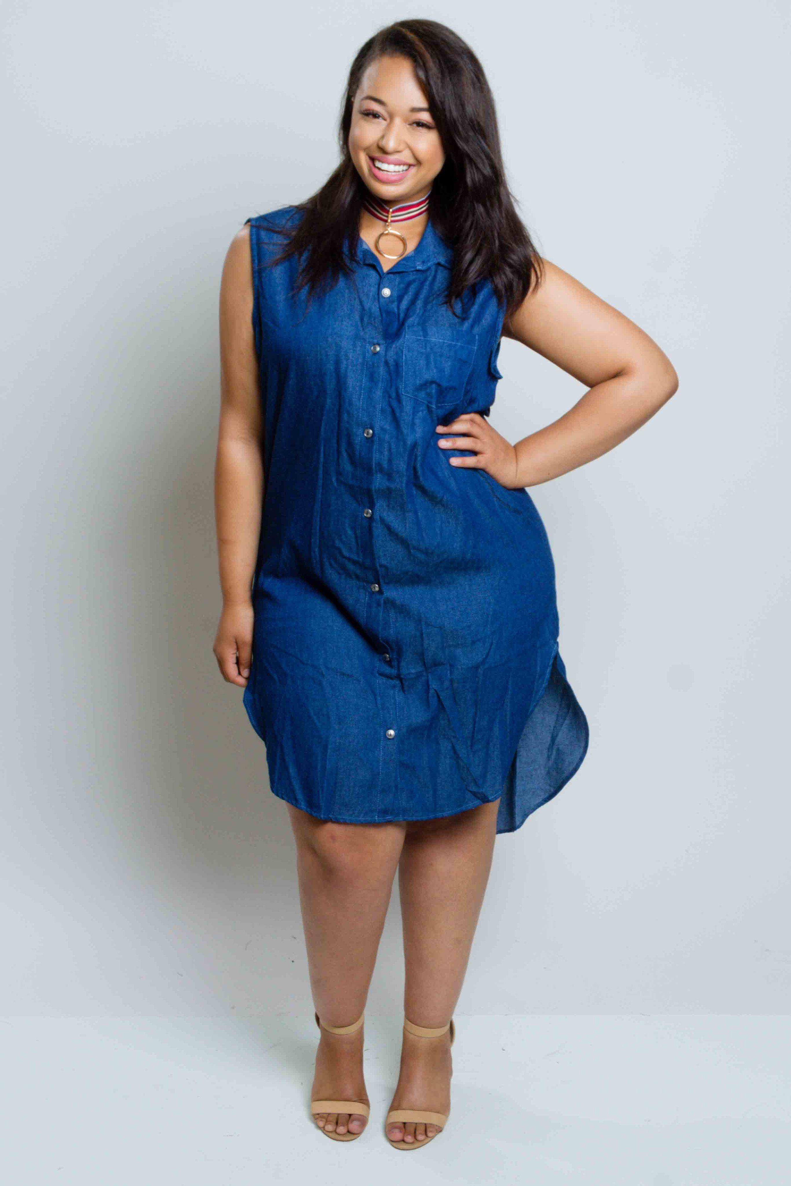 Plus Size Button Down Chambray Dress