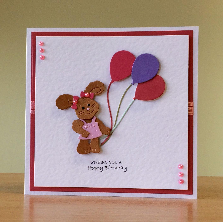 birthday card handmade  cottage cutz rabbit die for