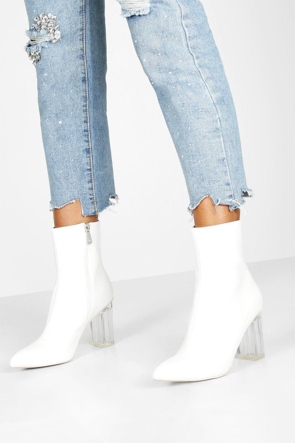 Clear Block Heel Pointed Toe Shoe Boots