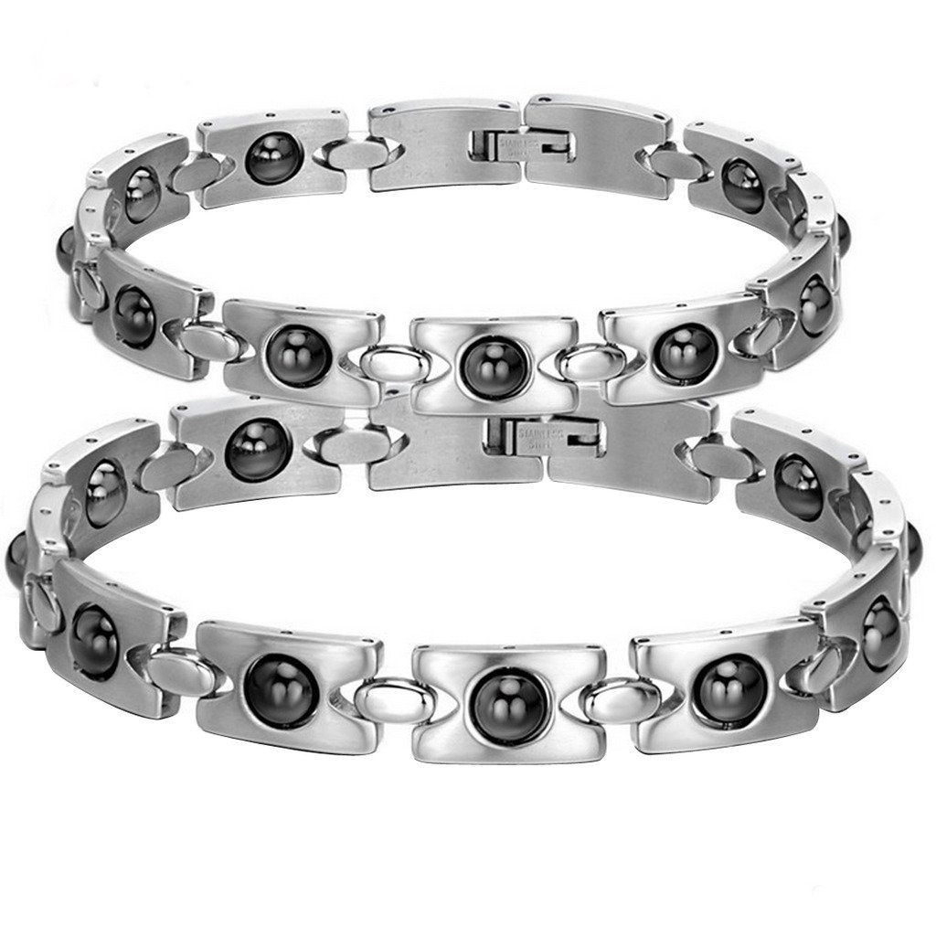 OPK Ms. Love Rhinestone CZ & Energy Magnetic Stone Anti-Fatigue & Radiation Titanium Bracelet Bangles Best Gift! oKVODo22O