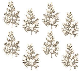 Set of 8 Glittered Leaf and Cedar Picks