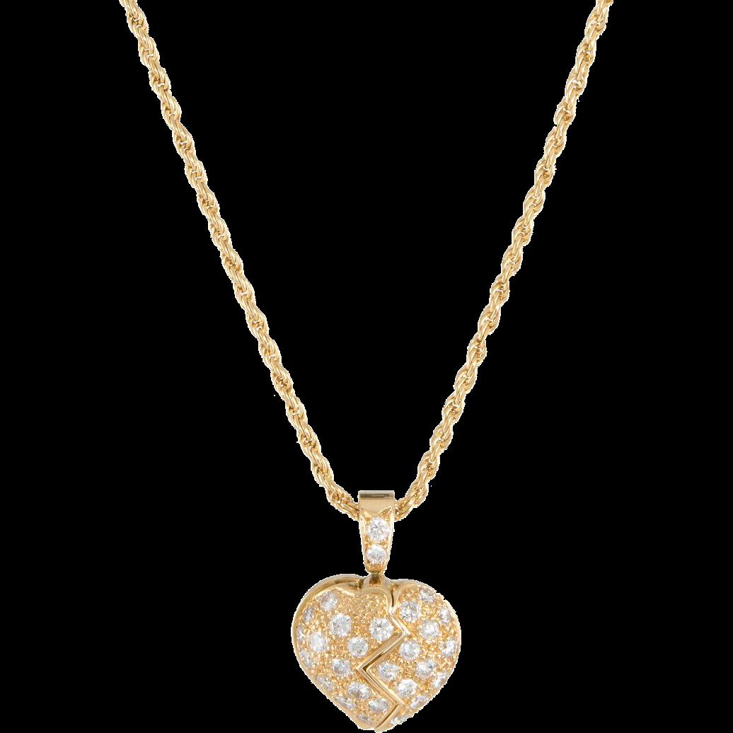 b356fbdafa9 Mouawad Opening Heart Diamond Necklace Estate 18 Karat Yellow Gold ...