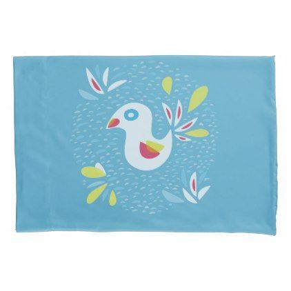 Cute Abstract Bird In Spring Pillow Case | Zazzle.com