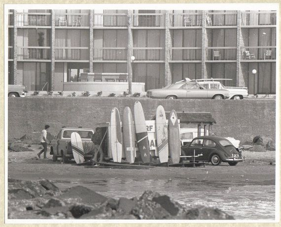 Vintage 1967 Black and White Surfing Photo Galveston Texas Surf Shop