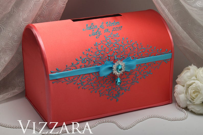Wedding money boxes Coral wedding Money box weddings Coral and turquoise wedding Wedding gift money box Coral wedding colors #turquoisecoralweddings Welcome! Glad to see you in a wedding shop! Wedding Card Box for coral and turquoise wedding Price is for one box. The box for money is an indispensable tool in the process of congratulations to newlyweds. This box is for envelopes with money, cards and congratulations to newlyweds. ♥ ABOUT: This is lightweight accessory, but it is very strong. Bo #turquoisecoralweddings