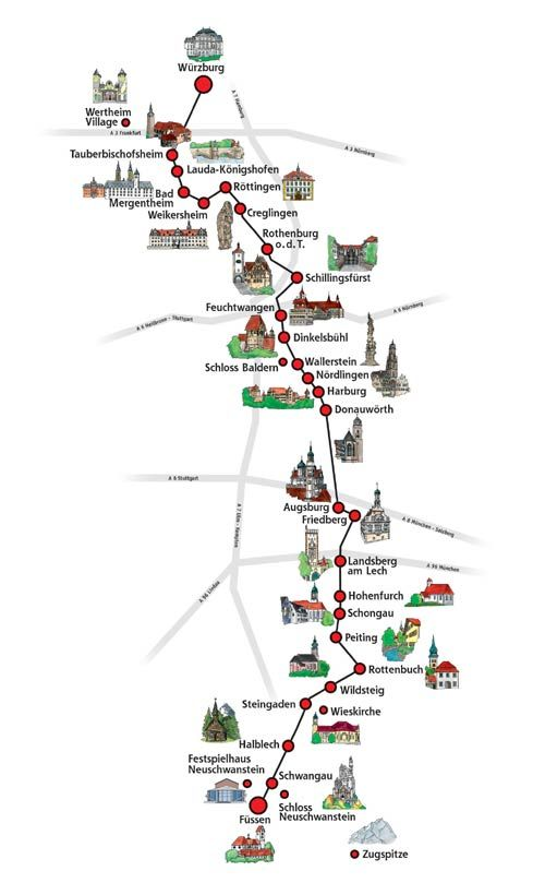 Romantic Road Bavaria Course and Map