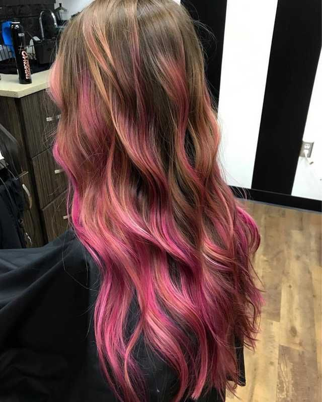 Pink Highlights For Brown Hair Hair Styles Pink Ombre Hair Dip Dye Hair