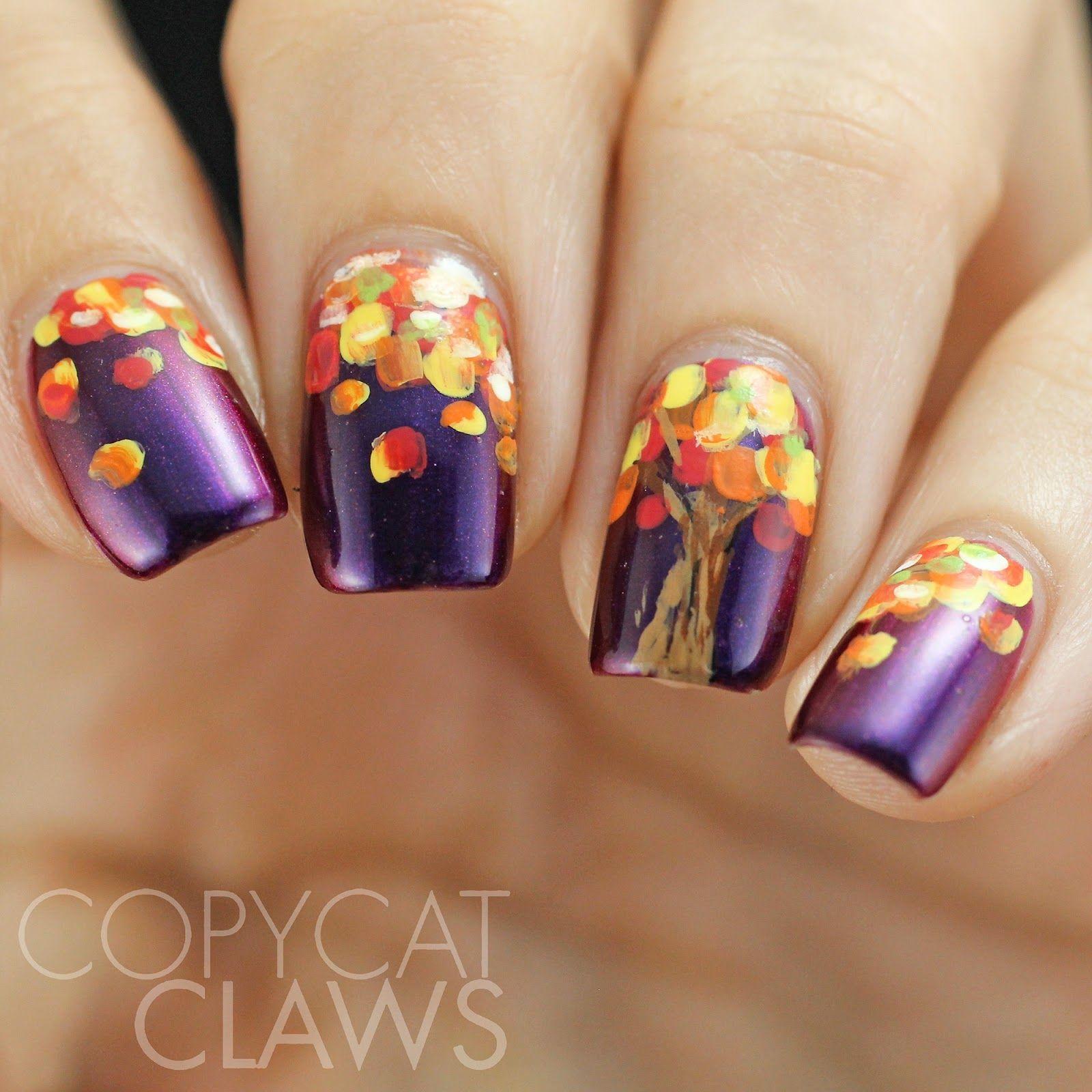 Copycat Claws: HPB Presents Fall Tree Nail Art | nails | Pinterest ...