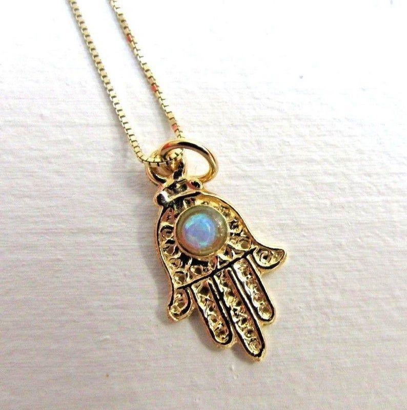 White Gold or Rose Gold 14k Gold Opal Hamsa Necklace  14k Solid Gold Necklace Opal Hamsa Gold Necklace Available in 14k Gold