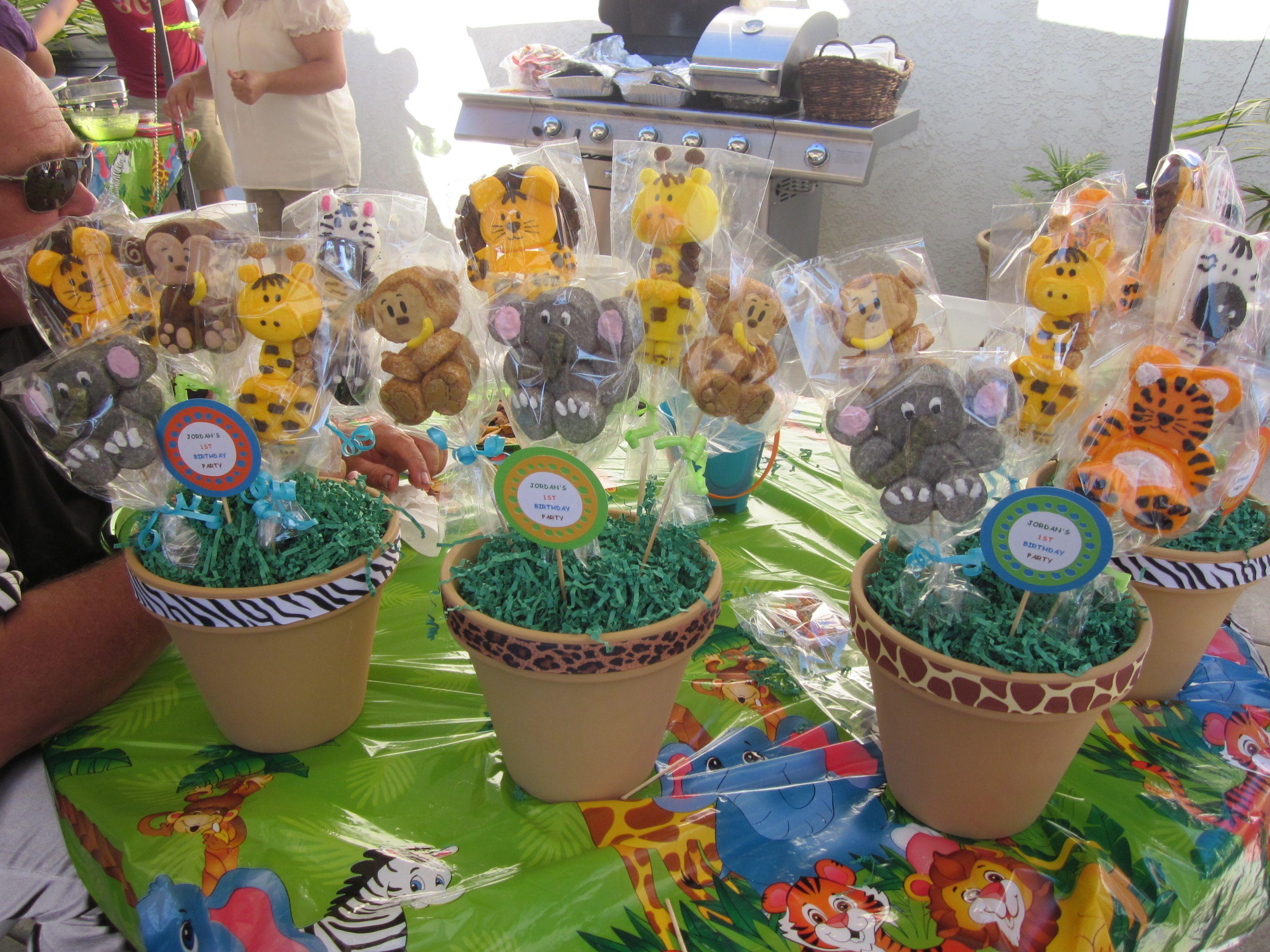 SAFARI MARSHMALLOW POPS CENTERPIECES CAKE POPS