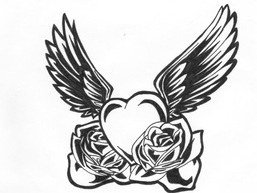 Black And White Heart Tattoo Clipart Best Heart With Wings Tattoo White Heart Tattoos Wings Tattoo