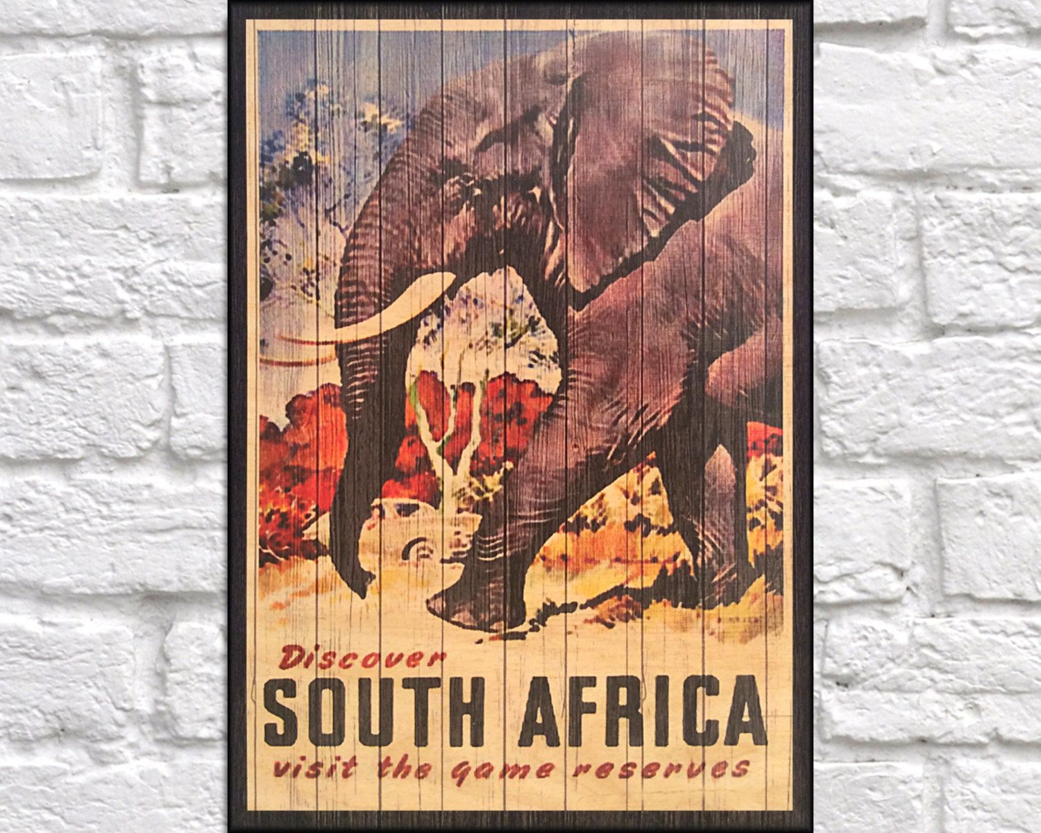 South Africa Travel Poster Retro Travel Print Travel Wood Wall Art