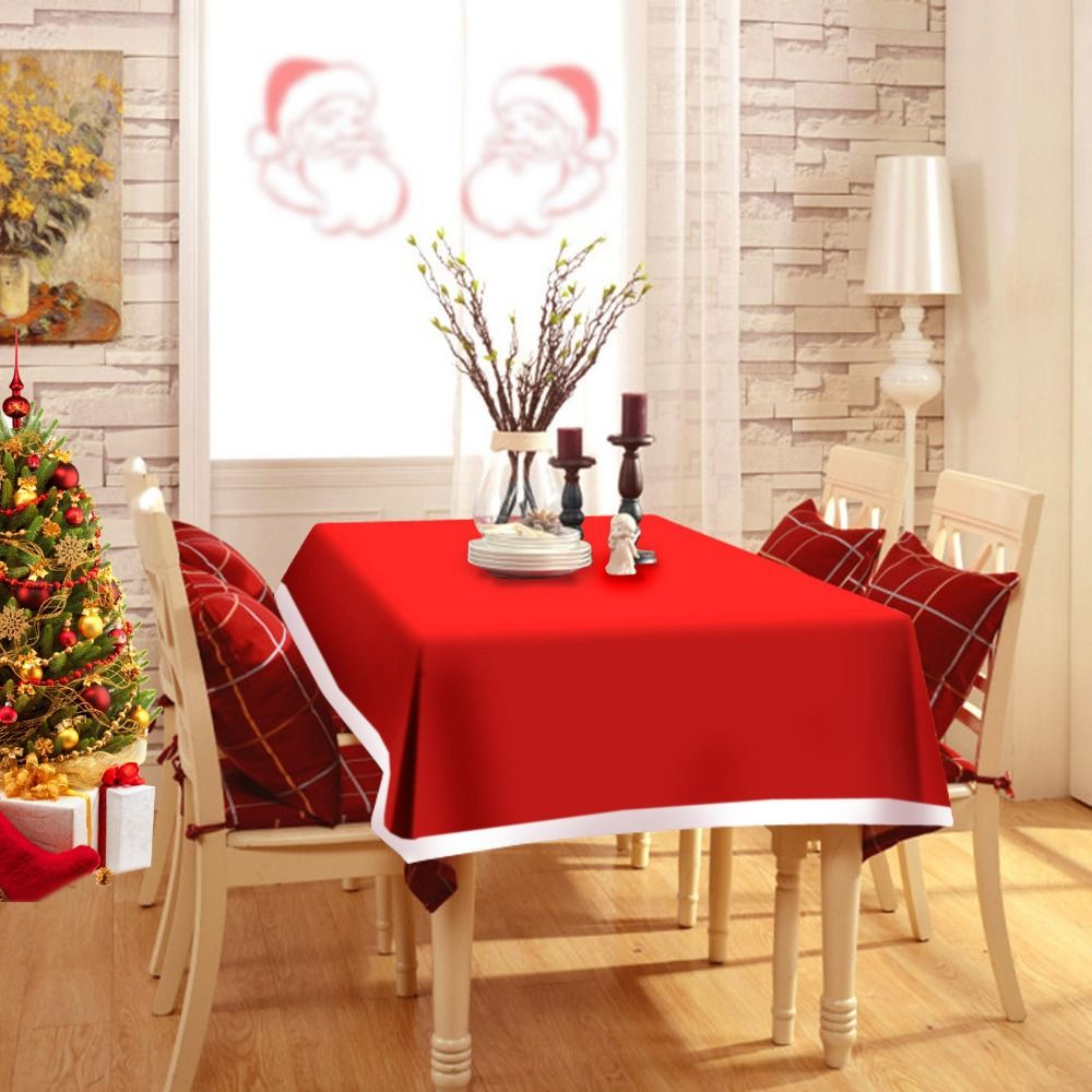 high qualitynew 184x128cm creative cute red christmas table cloth with warm family christmas decoration supplies christmas