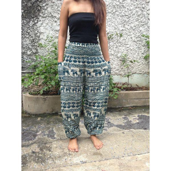 1ac95c0cdaff Trousers Yoga Pants Elephants Print Hippie Baggy Boho Hobo Fashion ...