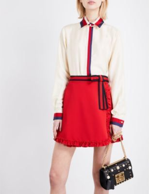 ae44d67ffacbc Gucci ribbon-trimmed top and skirt