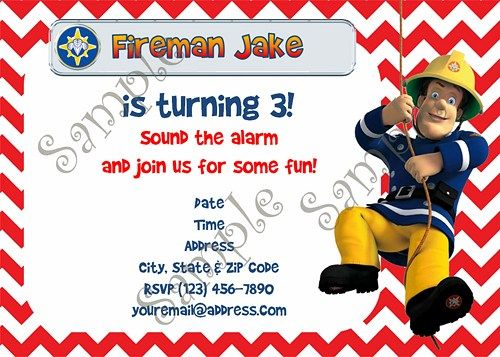 Fireman Sam Fireman Sam Invitation Fireman Sam birthday Fireman – Fireman Sam Birthday Cards