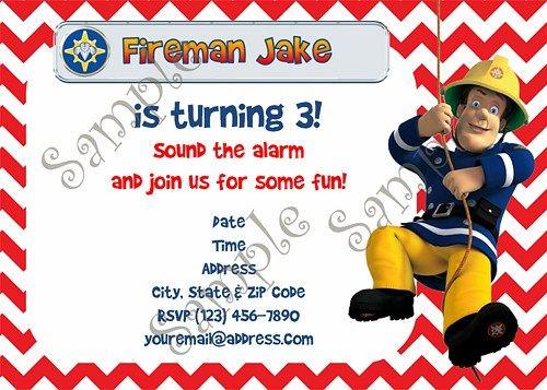Fireman Sam Birthday Party Invitation Free Thank You Card Sam Le Pompier Pompier Invitation
