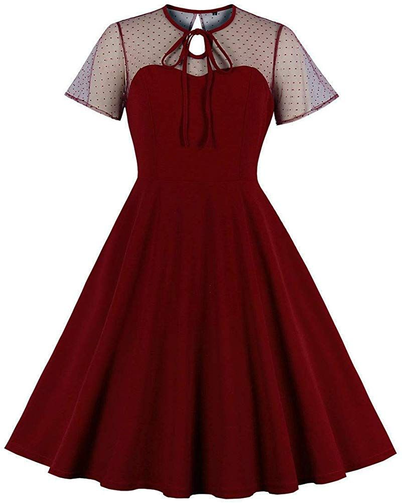 Wellwits Women S Polka Dots Embroidery Keyhole Tie Vintage Cocktail Dress Wine M At Amazon Wome Cocktail Dress Vintage Red Cocktail Dress A Line Cocktail Dress [ 1000 x 801 Pixel ]