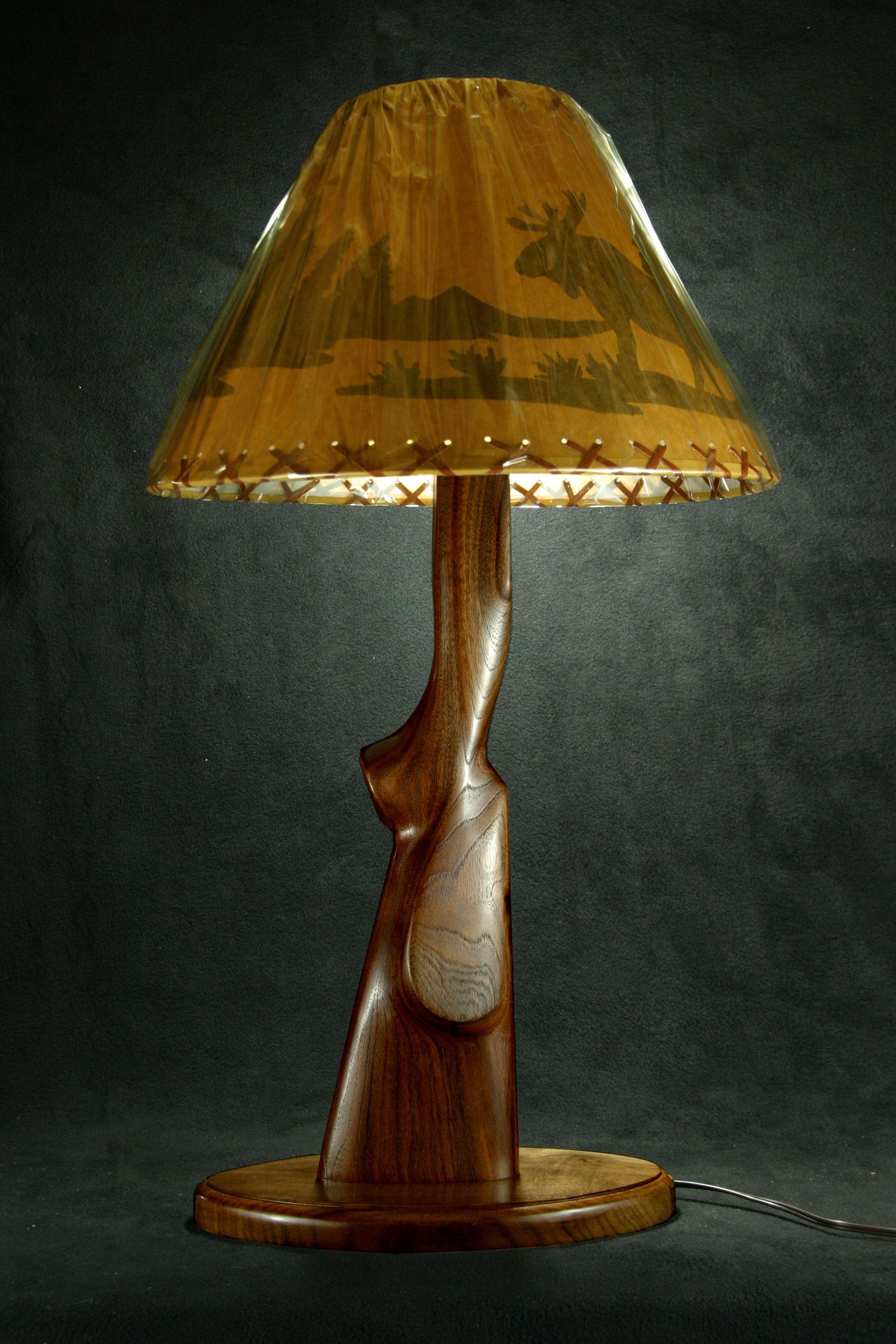 Walnut gun stock lamp