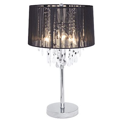 Black see through lamp shade with crystal lighting and chrome stand.  Matching set for night
