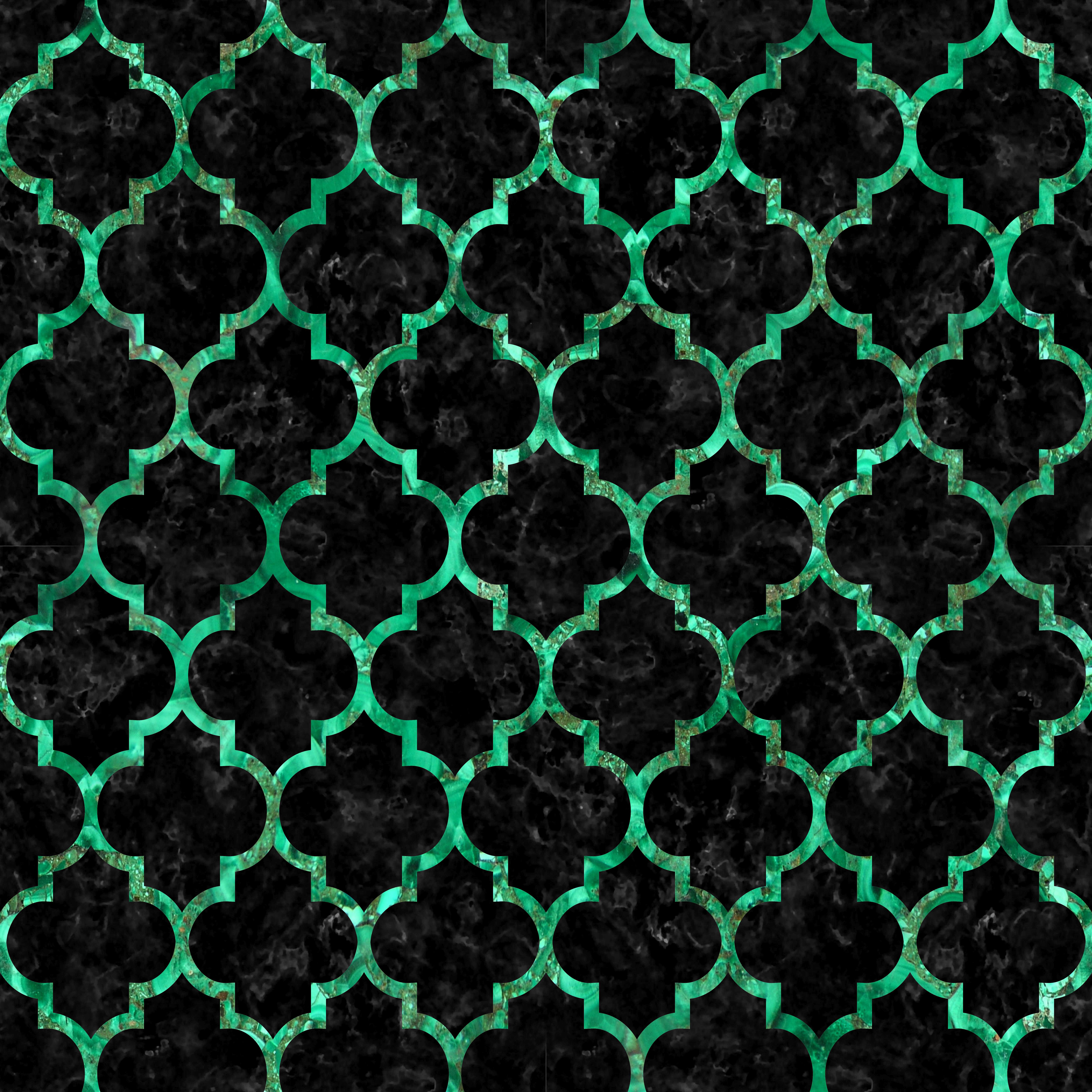 A beautifully shaped green marble tile pattern with black marble ...