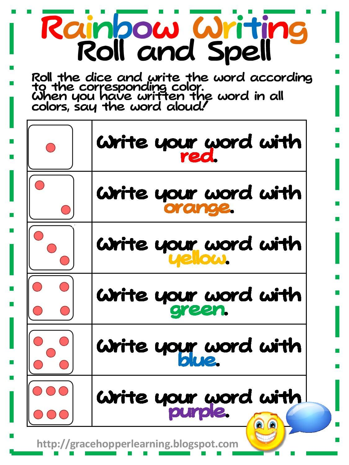 Rainbow Worksheets Get It Here Rainbow Writing Game