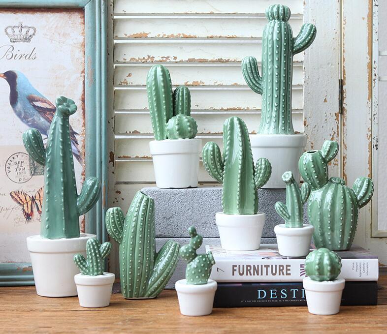 Ceramic Cactus Ornaments Simulation Plant Potted Home Furnishings Ceramic Creative Ornaments In Figurines Miniatures From Cactus Ceramic Cactus Decor Cactus