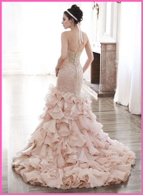 Pink Blush Mermaid Wedding Dresses with Bling