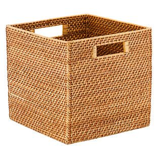 Copper Rattan Storage Cube with Handles