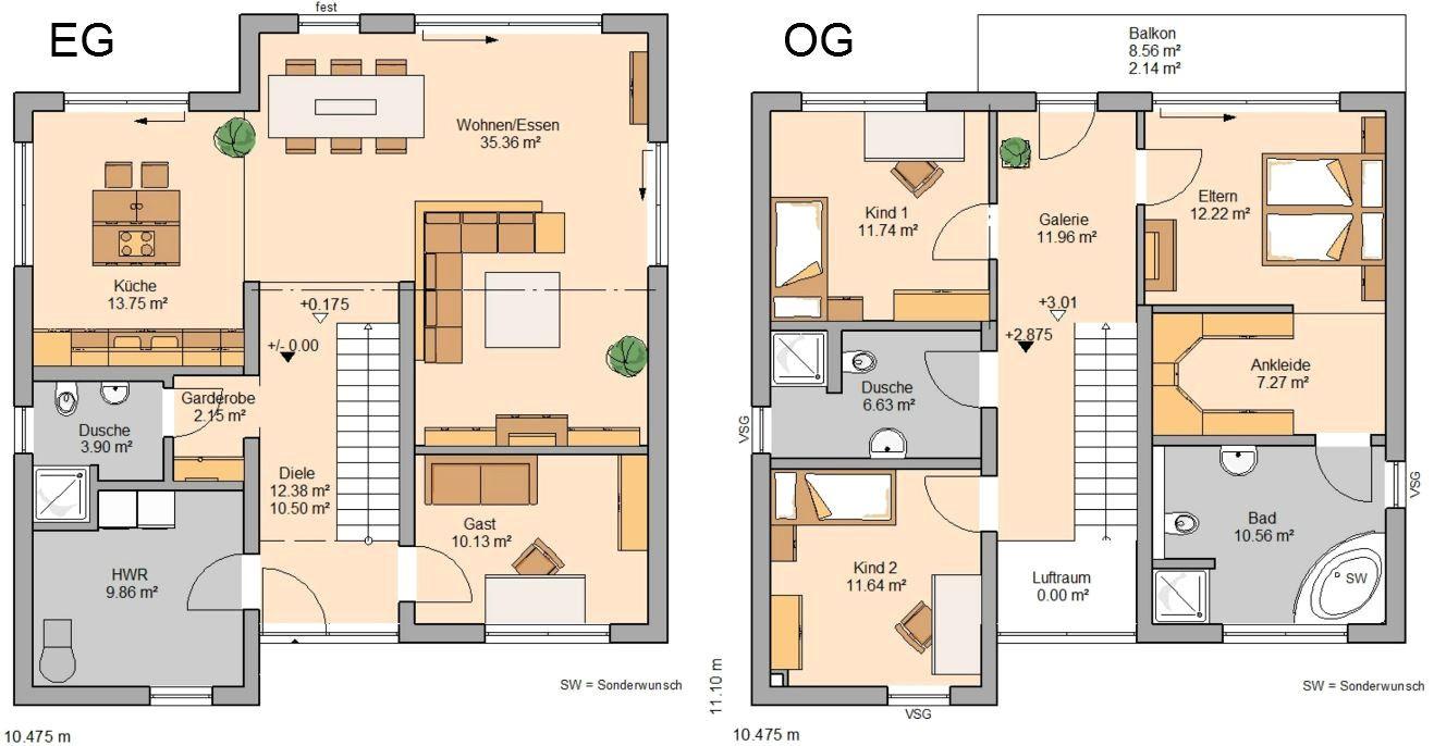grundriss einfamilienhaus modern gerade treppe Haus