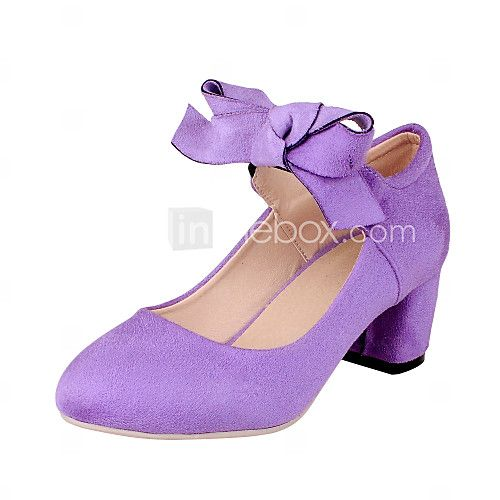 Women's Shoes Chunky Heel Heels / Round Toe Heels Dress Black / Pink /  Purple /