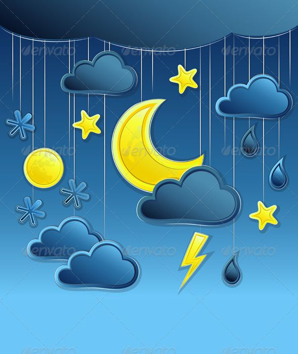 Vector Background With Night Weather Icon Weather Icons Vector Background