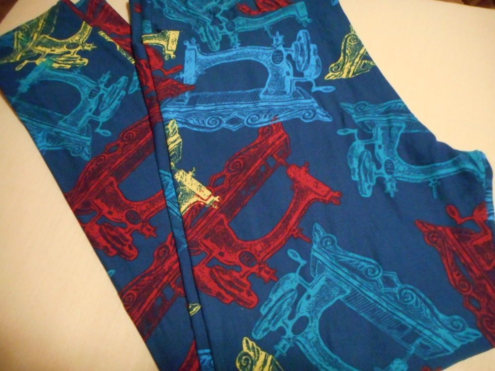 Lularoe Leggings Tall And Curvy TC Vintage Sewing Machines Blue Impressive Lularoe Sewing Machine Print