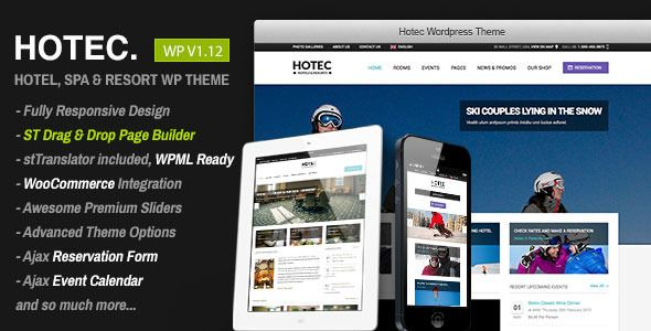 Hotec - Responsive Hotel, Spa & Resort WP Theme | Wordpress, Google ...