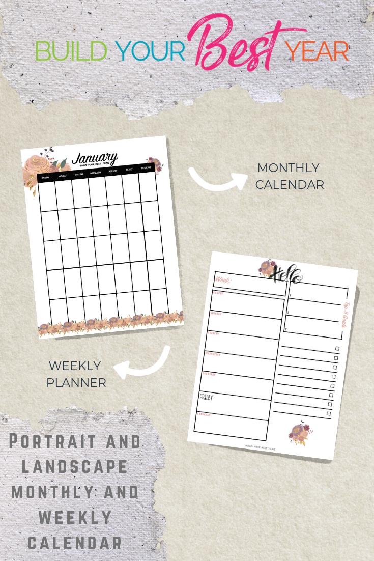 Flower Style 12 Month Portrait Calendar 1x Printable Flower Style 12 Month With Images Weekly Calendar Planner Flower Printable Calendar Printables