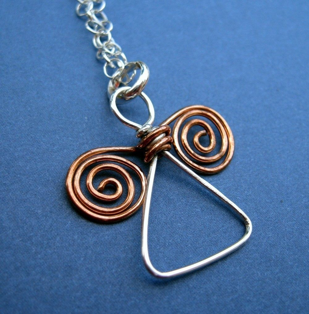 Handmade Angel pendant - silver and copper wire by VisionQuest ...