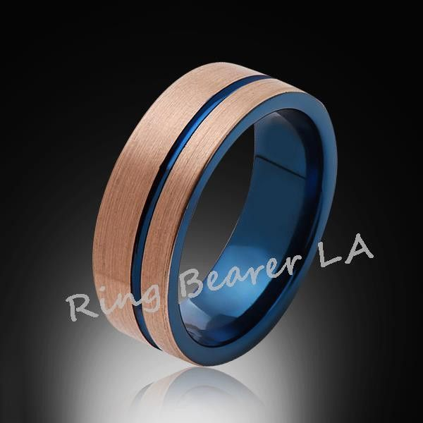 Blue Tungsten Ring Brushed Rose Gold Offset Groove