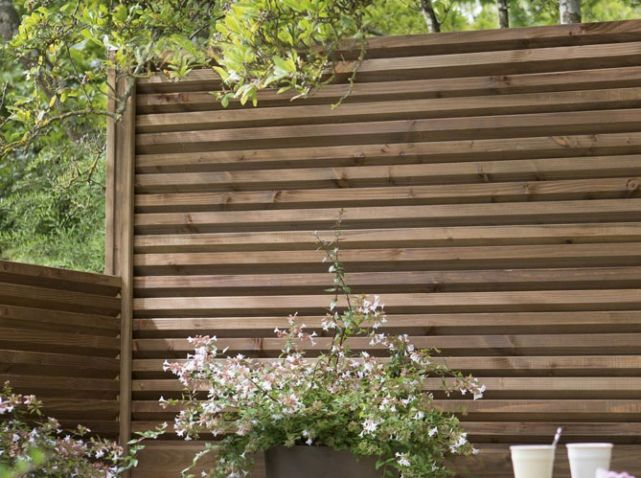 Idee cloture jardin lame double en bois leroy merlin for Decoration cloture exterieur maison