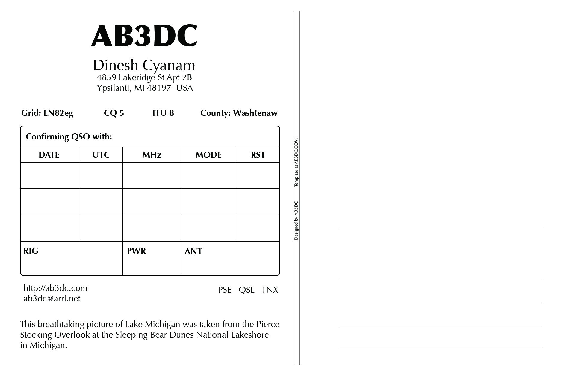 New Qsl Cards Design Ab3dc S Ham Radio Blog In Qsl Card Template Professional Template Id Card Template Business Plan Template Free Business Card Templates