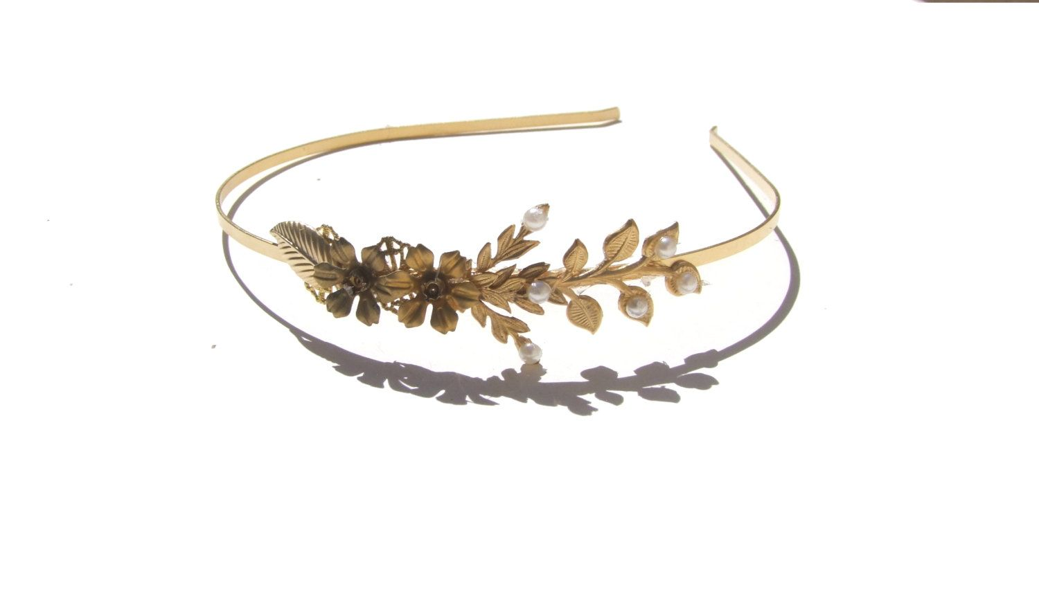 Bridal+Floral+Leaf+Crown+Wedding+Headpiece+Gold+by+YaelSteinberg,+$52.00