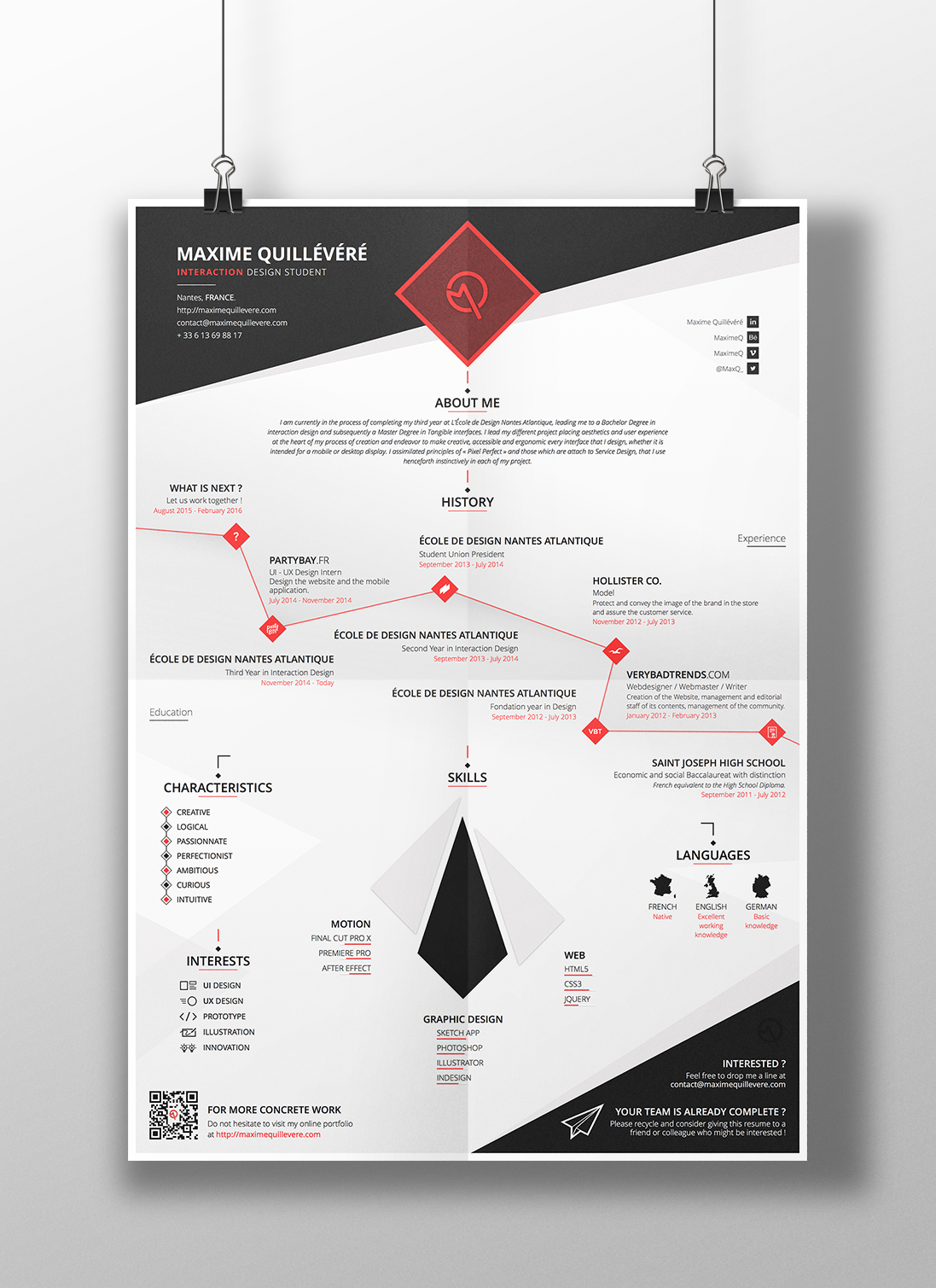 My Cv Resume My Visual Cv  Resume  2015 On Behance  Resume Template .